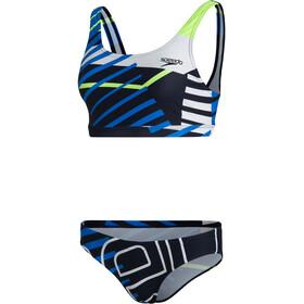 speedo Placement U-Back Bikini Women true navy/bondi blue/fluo yellow/white